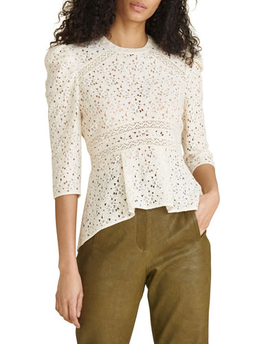 Boxy Style Size Small Short Sleeves Unlined All Cotton Beige Lace Top