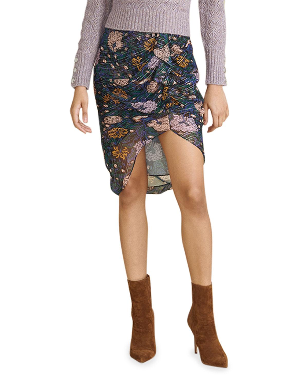 Hazel Floral-Print Ruffle Skirt