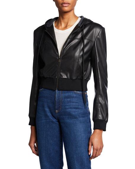 Alice + Olivia Paulie Vegan Leather Cropped Jacket