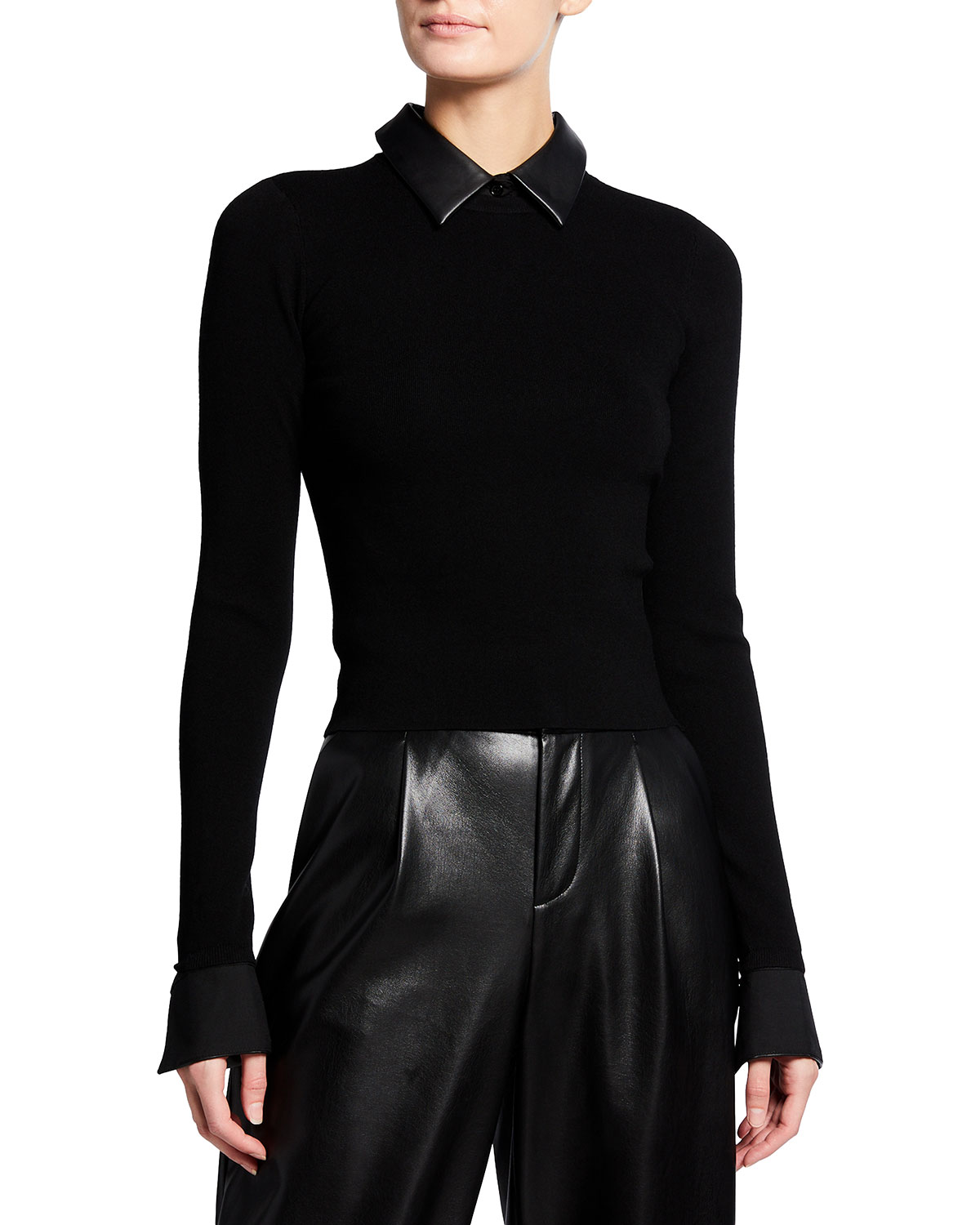Alice And Olivia DORY FITTED PULLOVER WITH COLLAR
