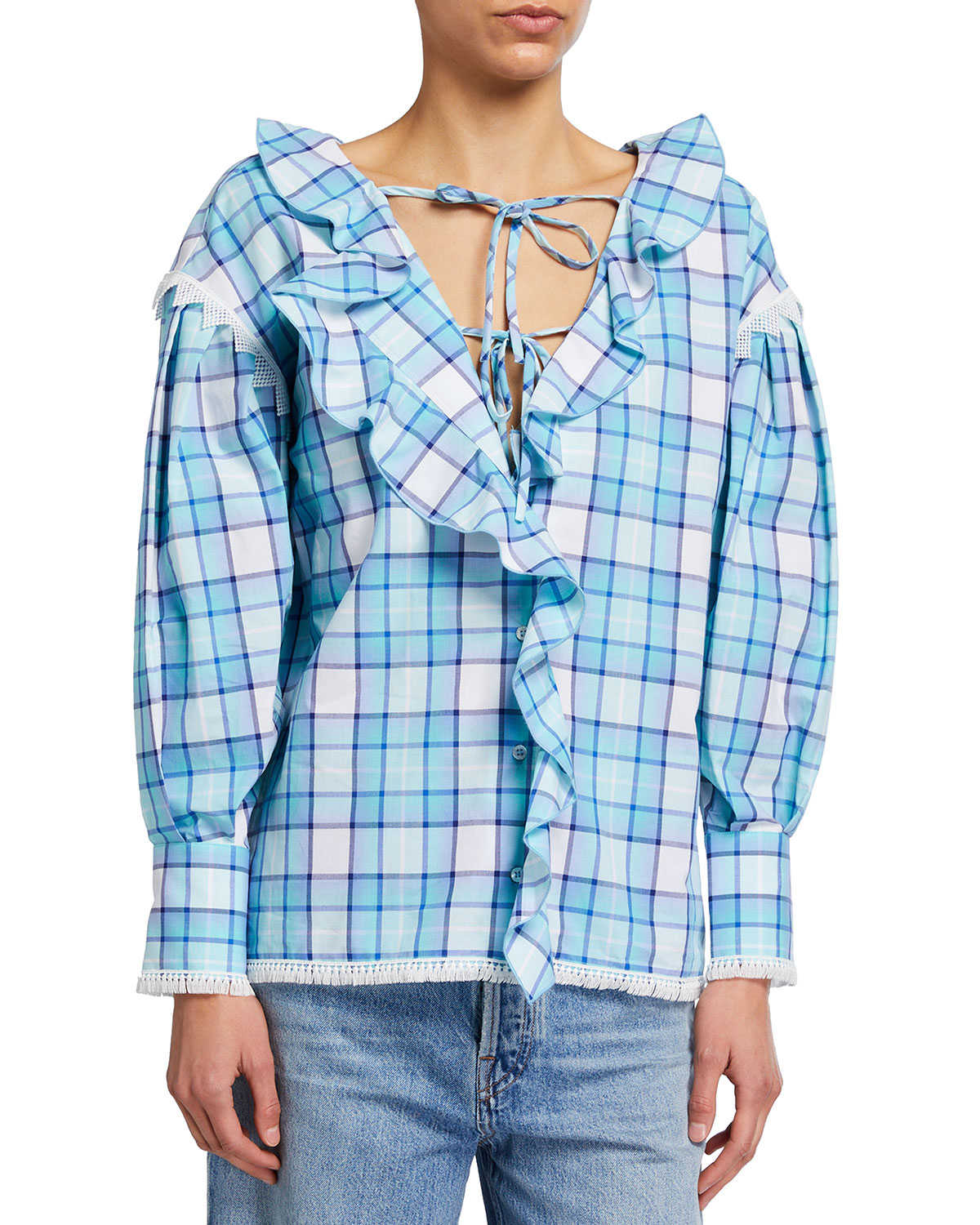 Ruffled Plaid Tie-Front Blouse