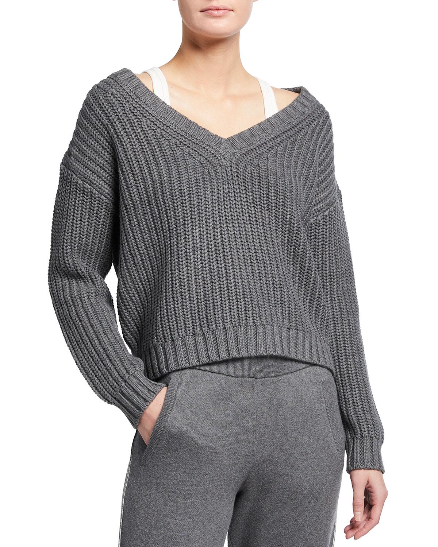 Cotton-Cashmere Chunky V-Neck Pullover