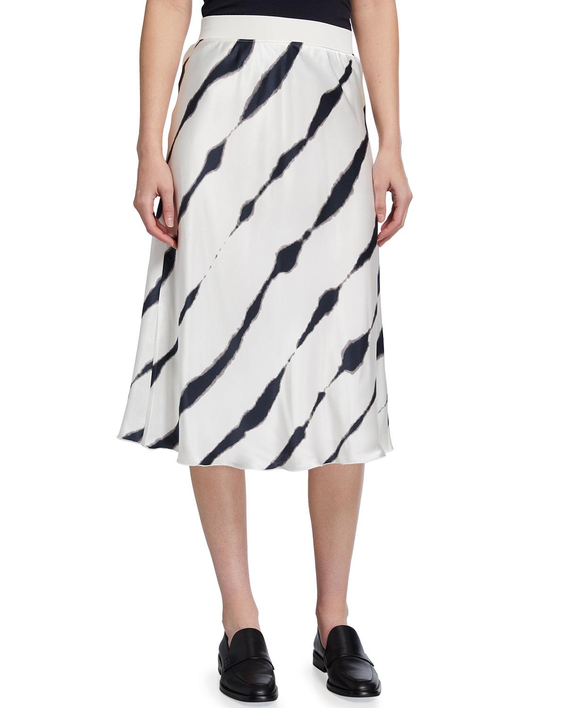 Silk Charmeuse Tie-Dye Pull-On Skirt