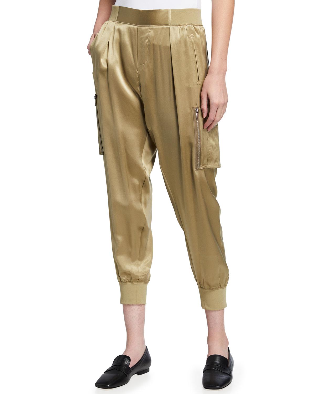 Silk Cargo Pull-On Pants