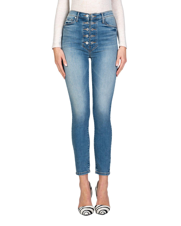 Bridget Double-Button Skinny Jeans