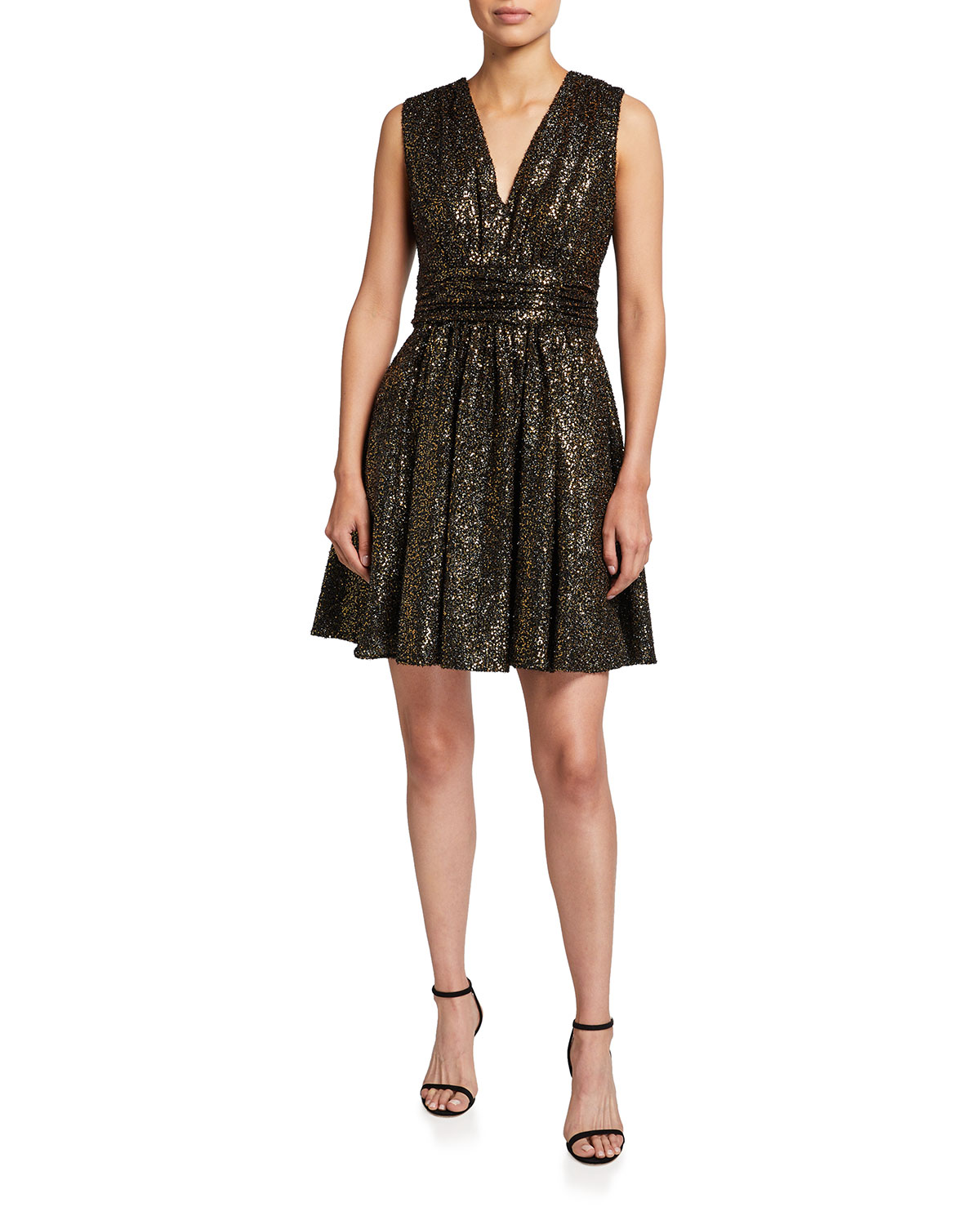 Halston ALI SEQUIN TEXTURED SLEEVELESS DRESS