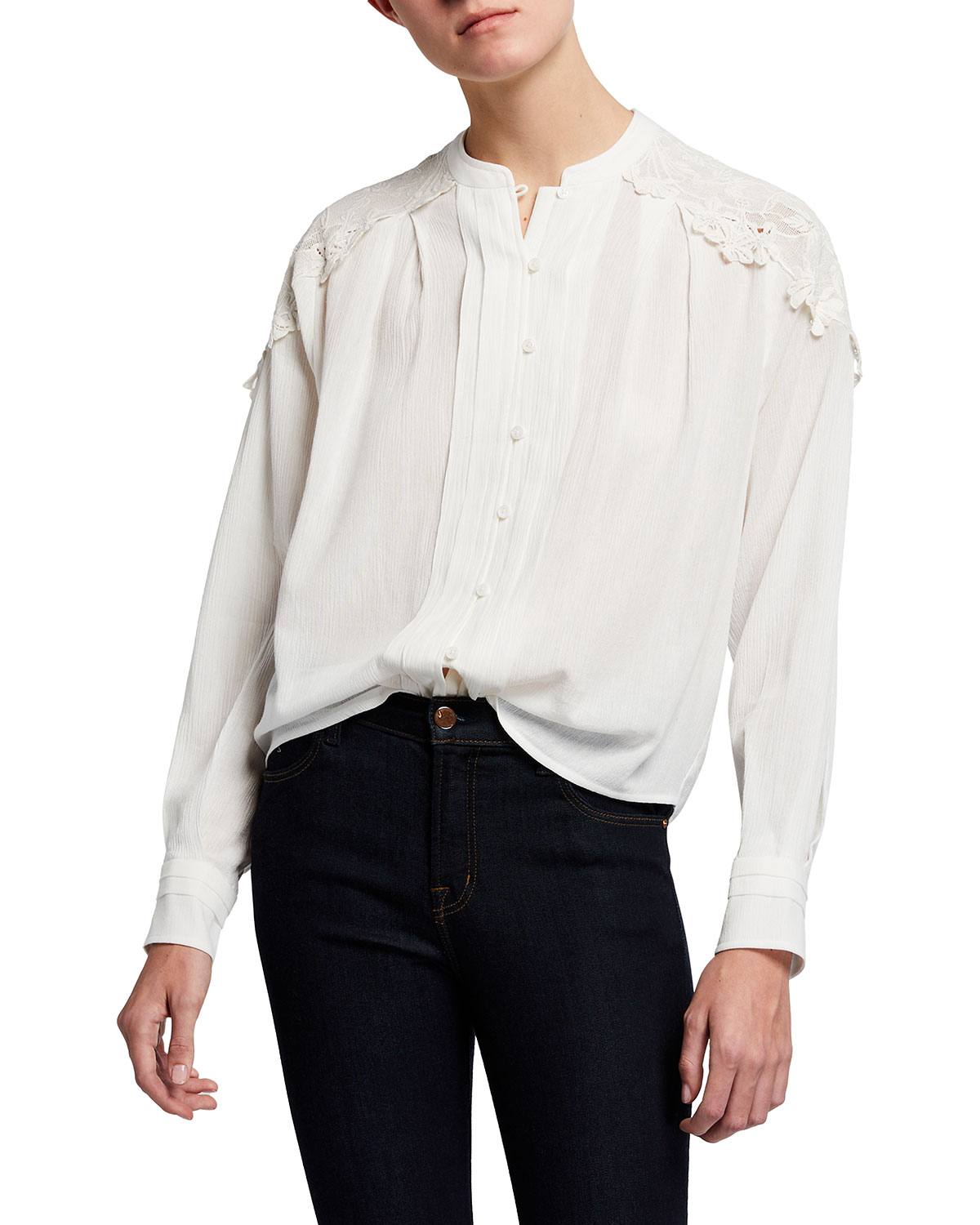 Iro CALISTO BUTTON-DOWN TOP WITH LACE
