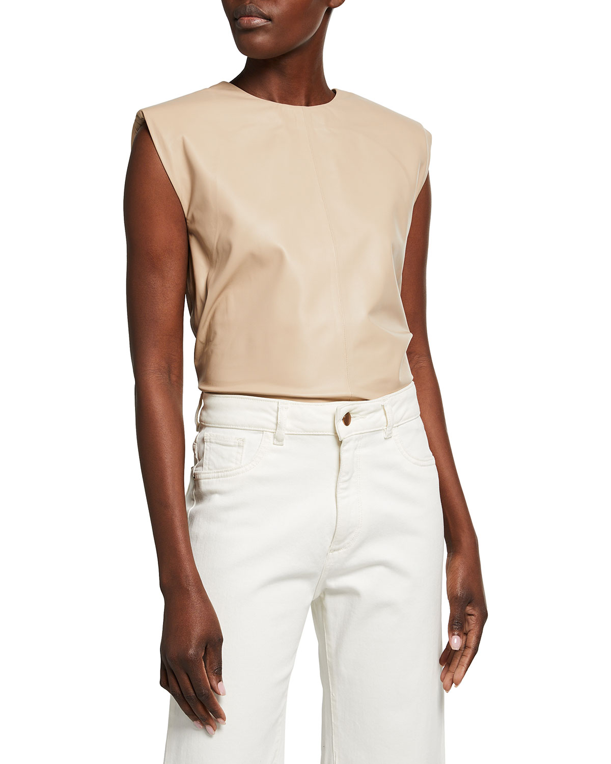 Maren Leather Top with Padded Shoulders