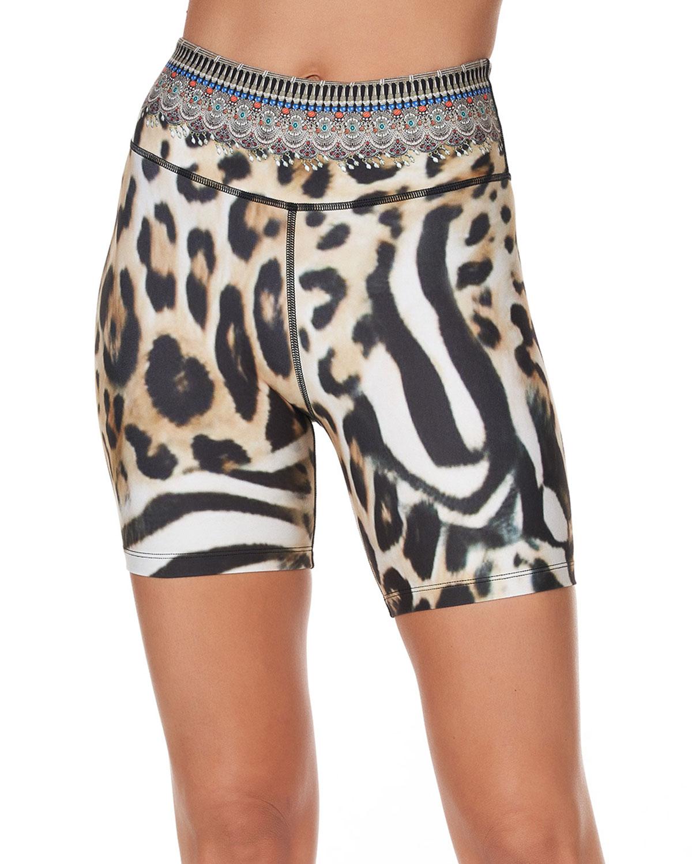 Leopard-Print High-Waist Biker Shorts