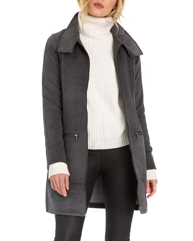 Leo Seamed Snap-Collar Coat
