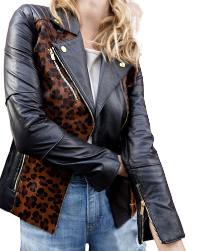 Lou Leather Jacket w/ Leopard-Print Cow Hair