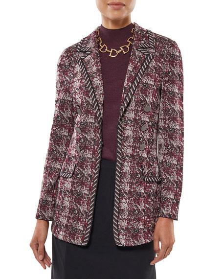 Misook Button Trim Multi Plaid Knit Jacket