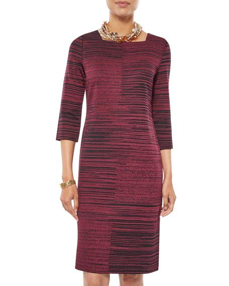 Misook Square-Neck Melange Knit Sheath Dress