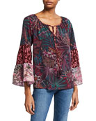 Johnny Was Toledo Silk Tiered Sleeve Blouse