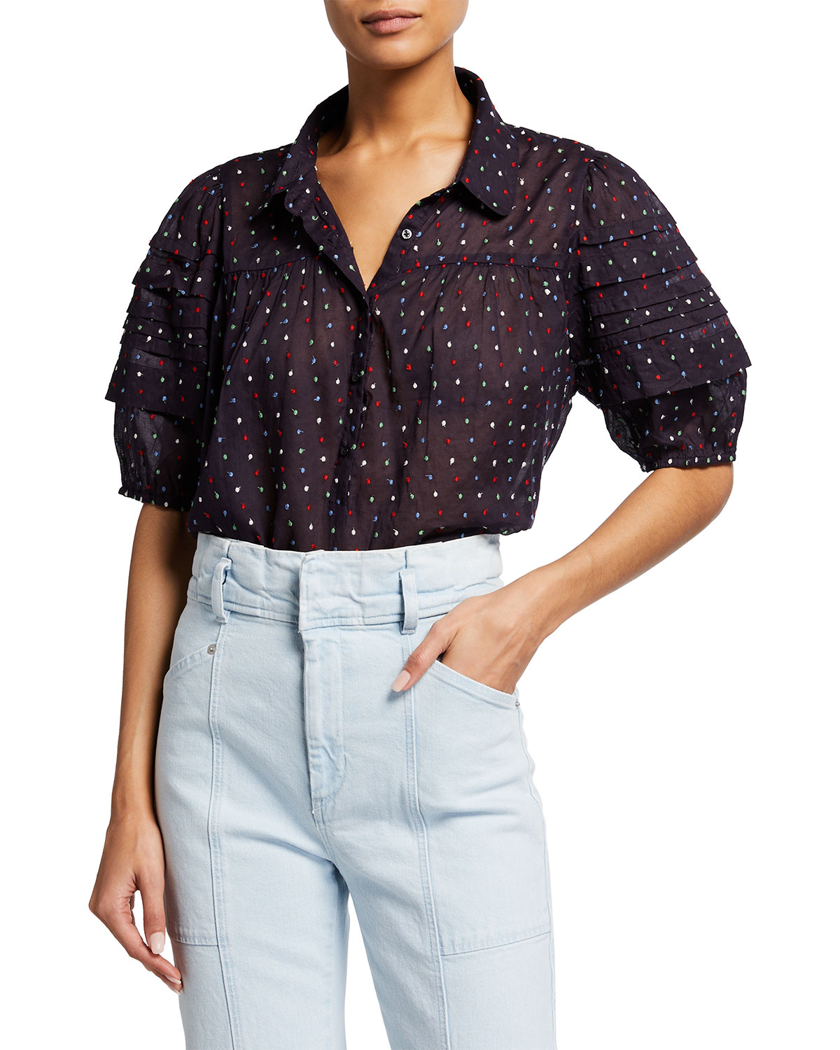 The Great Cottons THE MARE EMBROIDERED DOT TOP