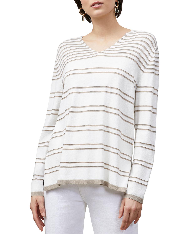 Lafayette 148 Sweaters STRIPED V-NECK SWEATER W/ METALLIC