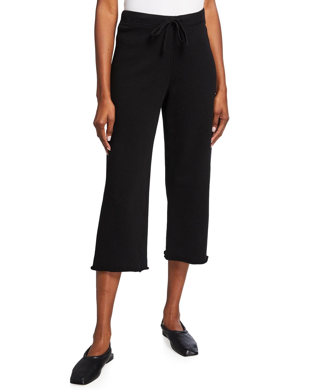 Cropped Wide-Leg Fleece Sweatpants