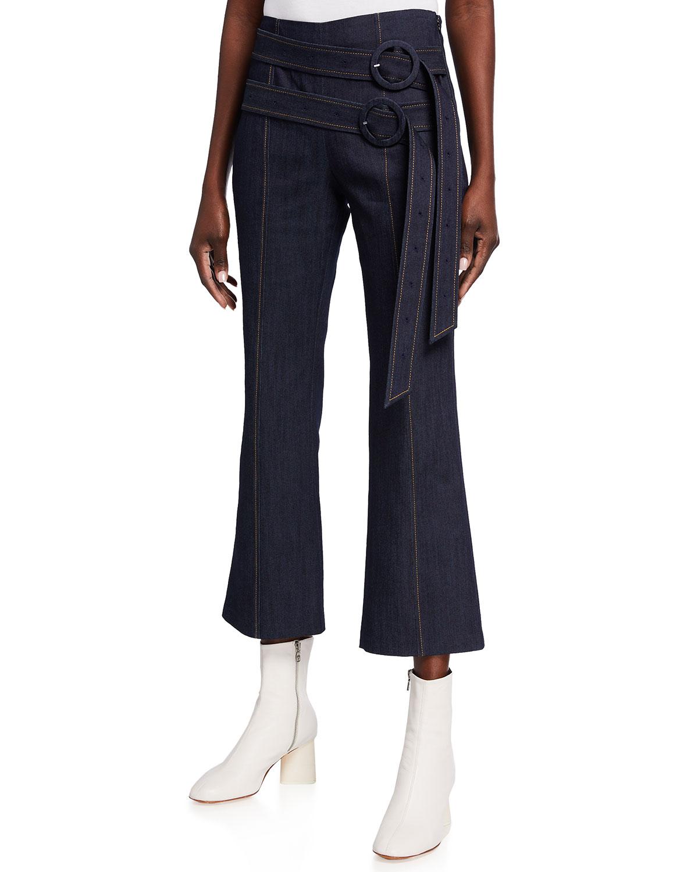 Jessi Cropped Flare Denim Pants w/ Double Belt