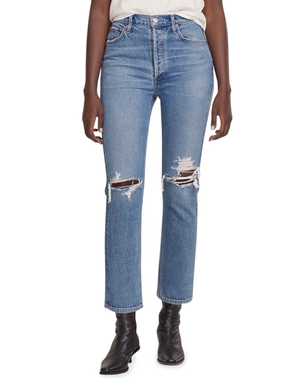 Riley Cropped Distressed Denim Jeans