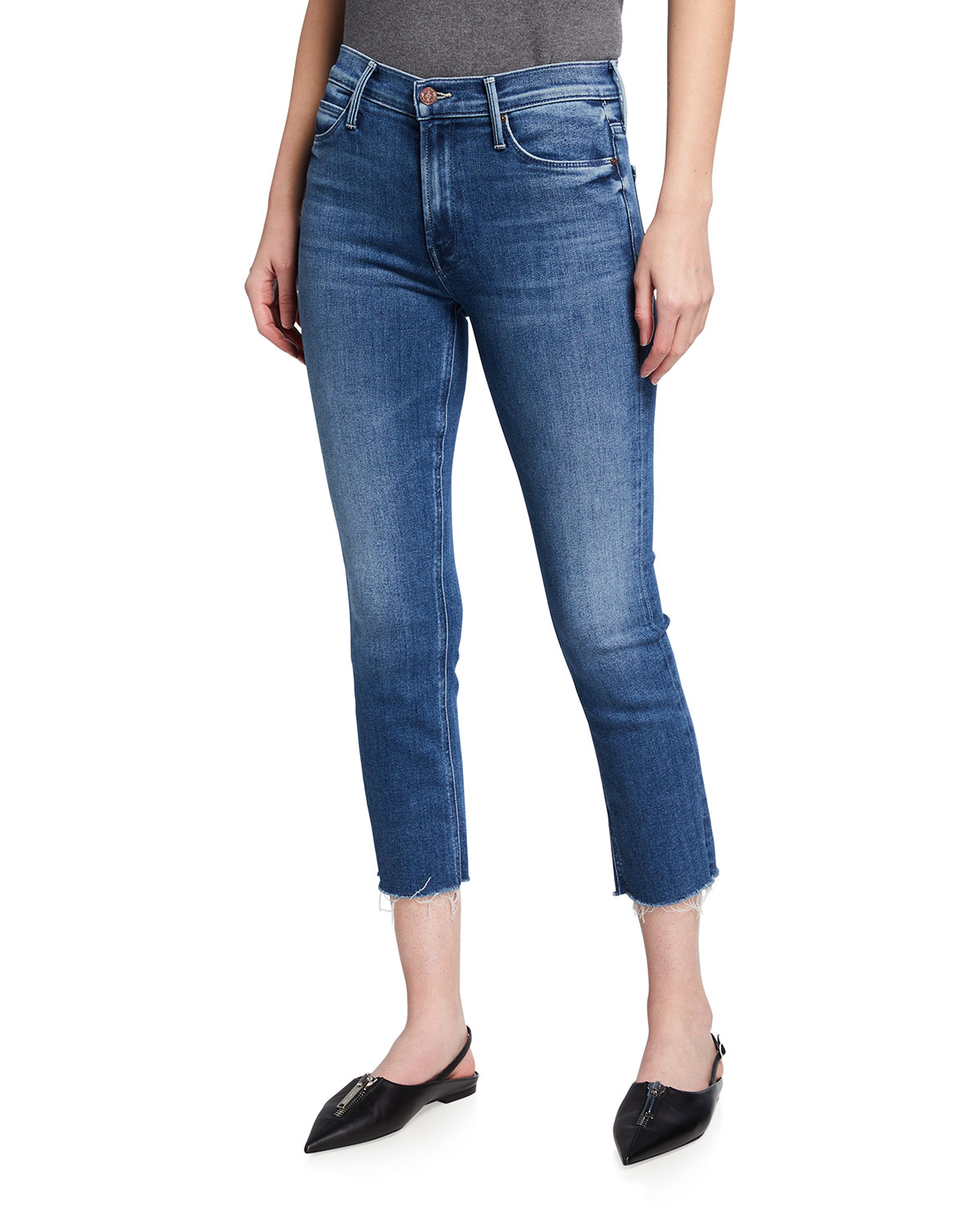 Mother DAZZLER MID-RISE CROPPED FRAY JEANS
