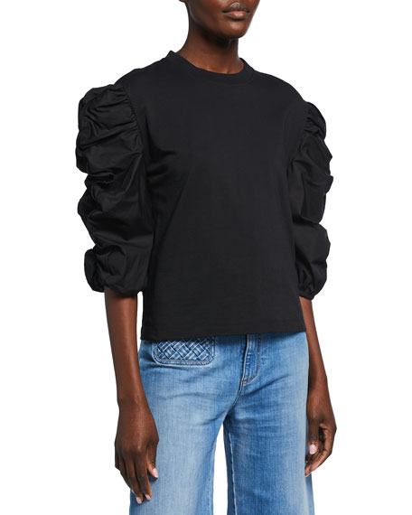 See by Chloe Ruffle-Sleeve Cotton T-Shirt