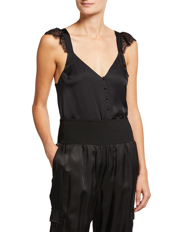 Victoria Button Silk Tank w/ Lace