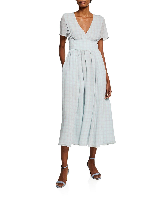 Emporio Armani CHECK-PRINT A-LINE TEA LENGTH DRESS