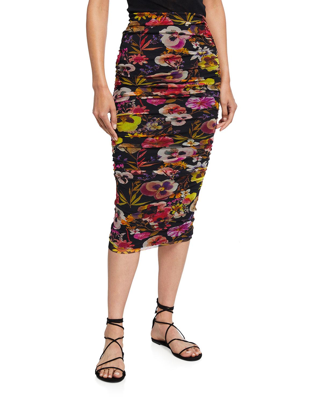 Fuzzi Skirts FLORAL-PRINT LONG TULLE SKIRT