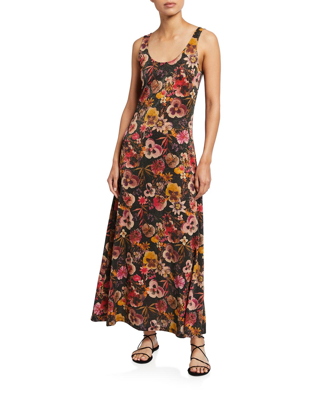 Fuzzi Dresses METALLIC FLORAL-PRINT SLEEVELESS MAXI DRESS