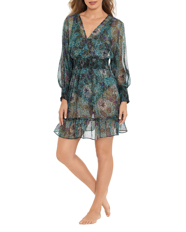 Rhiannon Tango Floral Mini Beach Coverup Dress