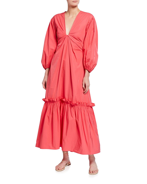 A.l.c IRENA PUFF-SLEEVE MAXI DRESS