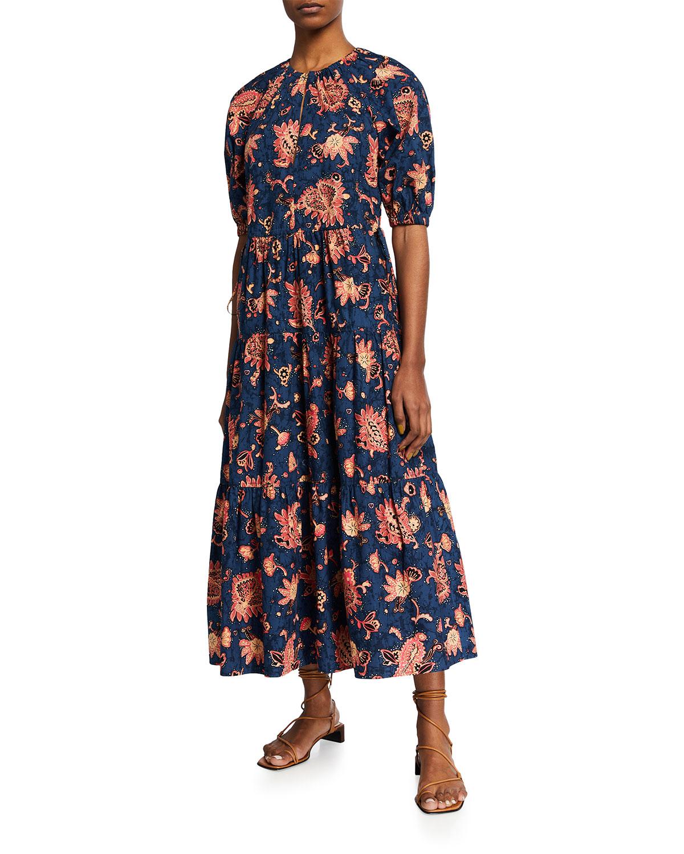 A.l.c MISCHA TIERED FLORAL-PRINT MAXI DRESS