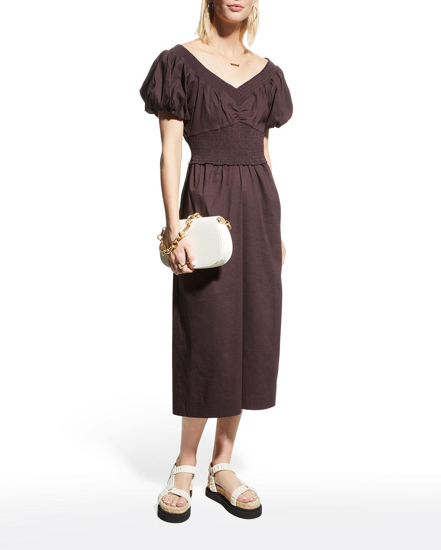 A.l.c ADENA LINEN OFF-THE-SHOULDER DRESS