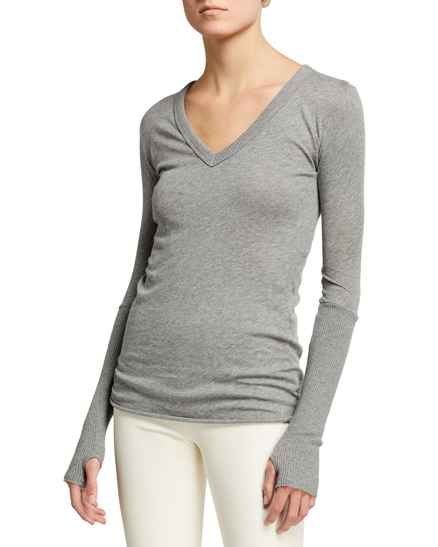 Cashmere-Cotton V-Neck Long-Sleeve Top