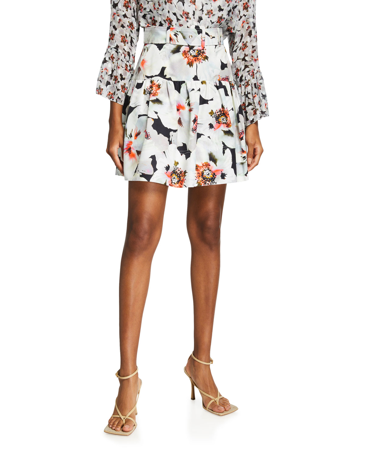 Tanya Taylor Silks CARRIE BELTED FLORAL MINI SKIRT