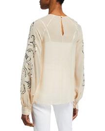 Robert Rodriguez Silk Petal Top- Robert Rodriguez- Neiman Marcus :  romantic petal flirty shirt