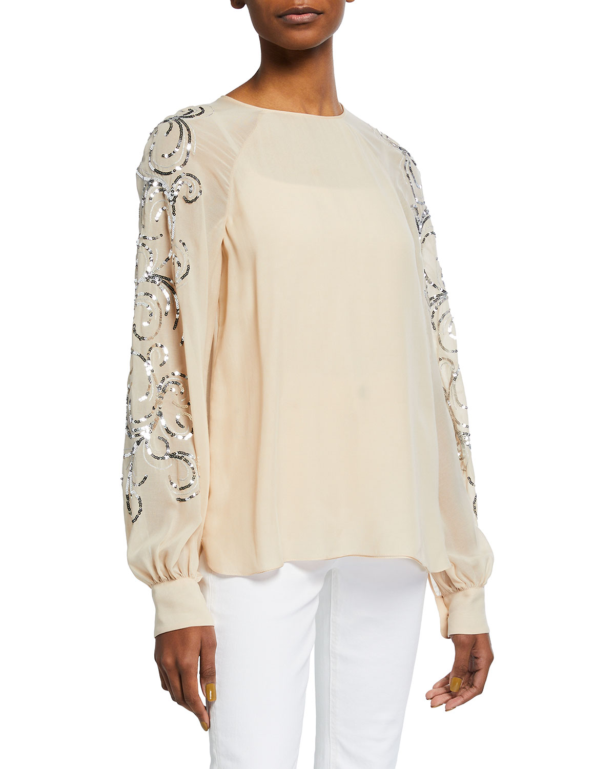 Halston ALLIE SEQUIN EMBELLISHED GEORGETTE BLOUSE