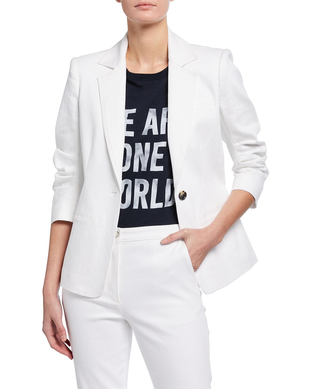 Khloe 3/4-Sleeve White Denim Blazer