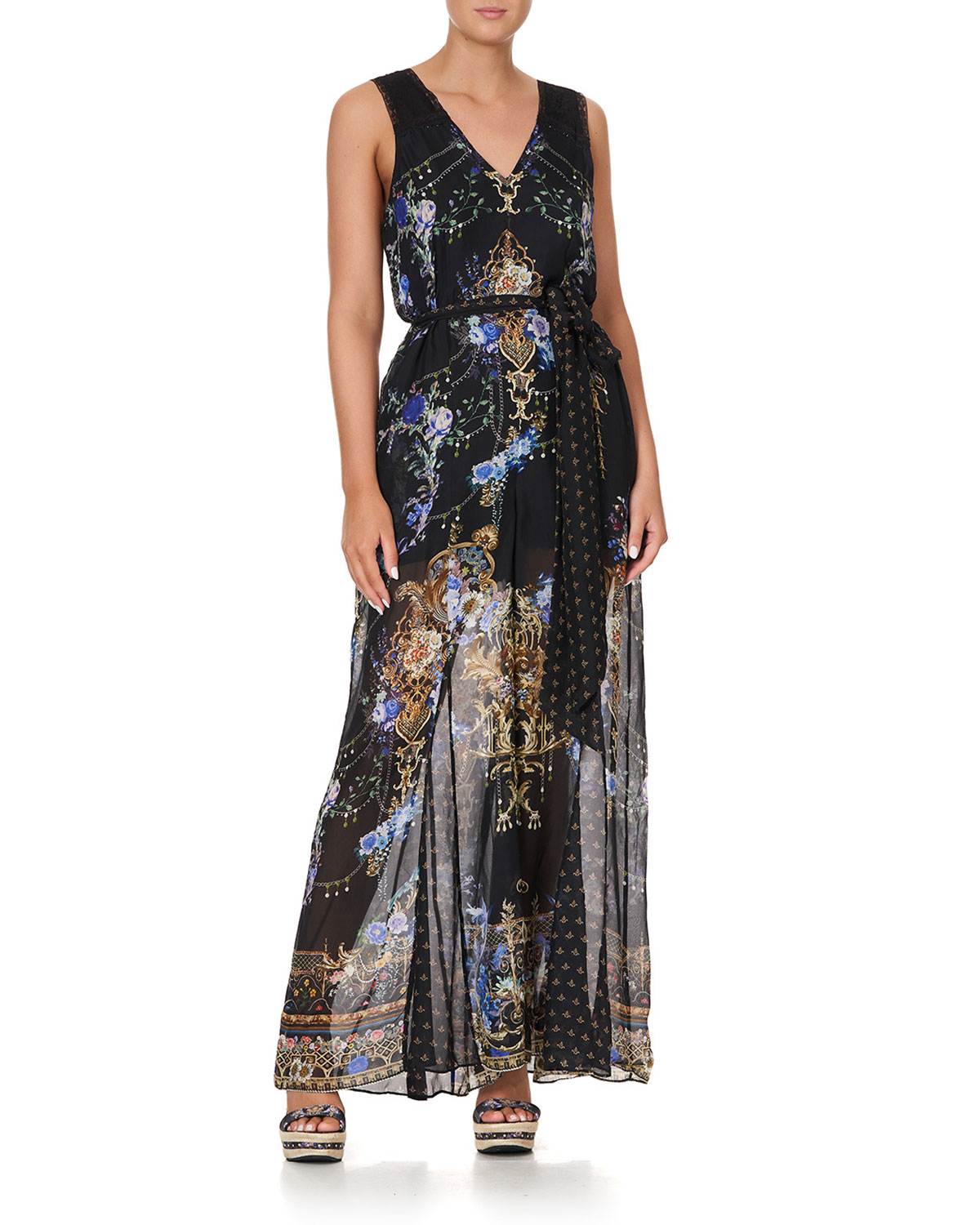 Abstract-Print Paneled Jumpsuit