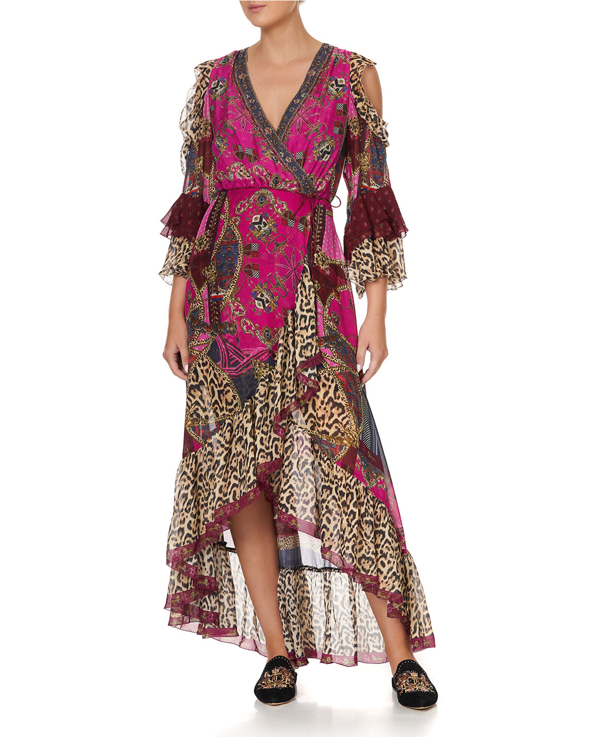 Camilla LEOPARD FLORAL RUFFLE-SLEEVE WRAP DRESS