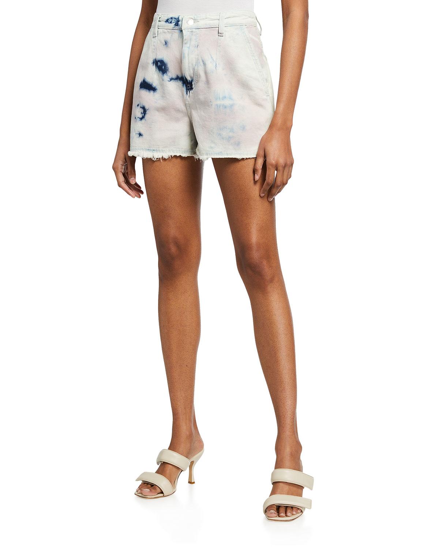 Popi Raw-Edge Tie-Dye Denim Shorts