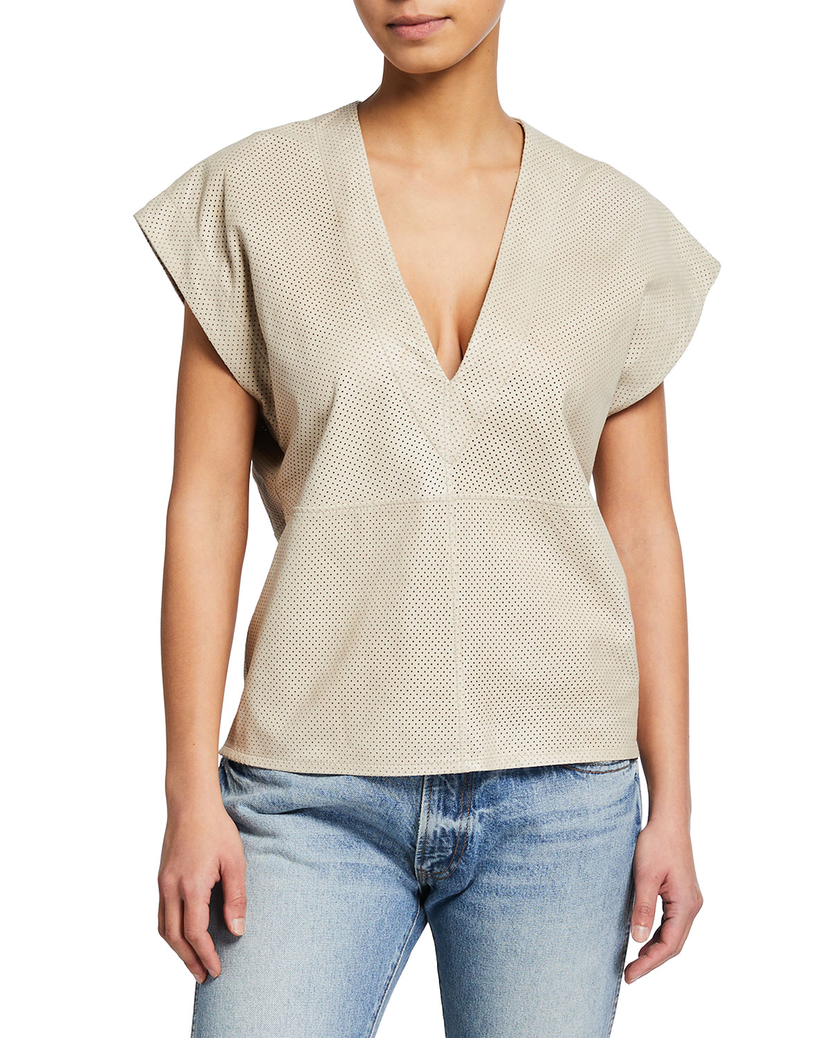 Iro PERFORATED LEATHER V-NECK TOP