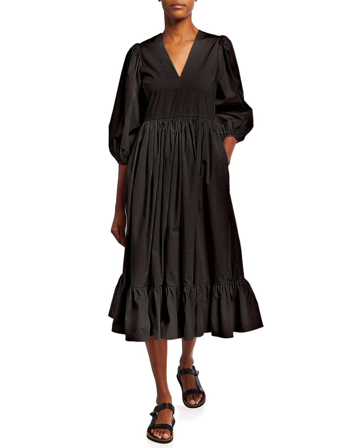 Red Valentino Long Black Cotton Dress With Puff Sleeves