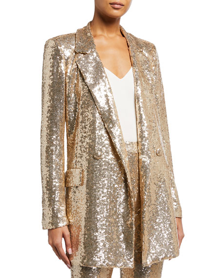 Badgley Mischka Collection Sequin Soft Smoking Jacket