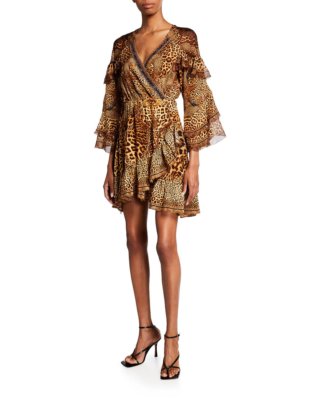 Camilla SHORT RUFFLE PRINTED WRAP DRESS W/ CRYSTALS