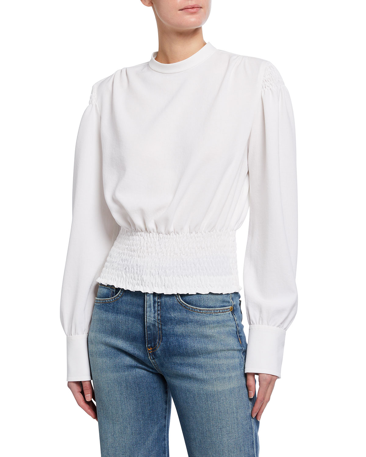 A.l.c Rose Long-sleeve Smocked Top In White