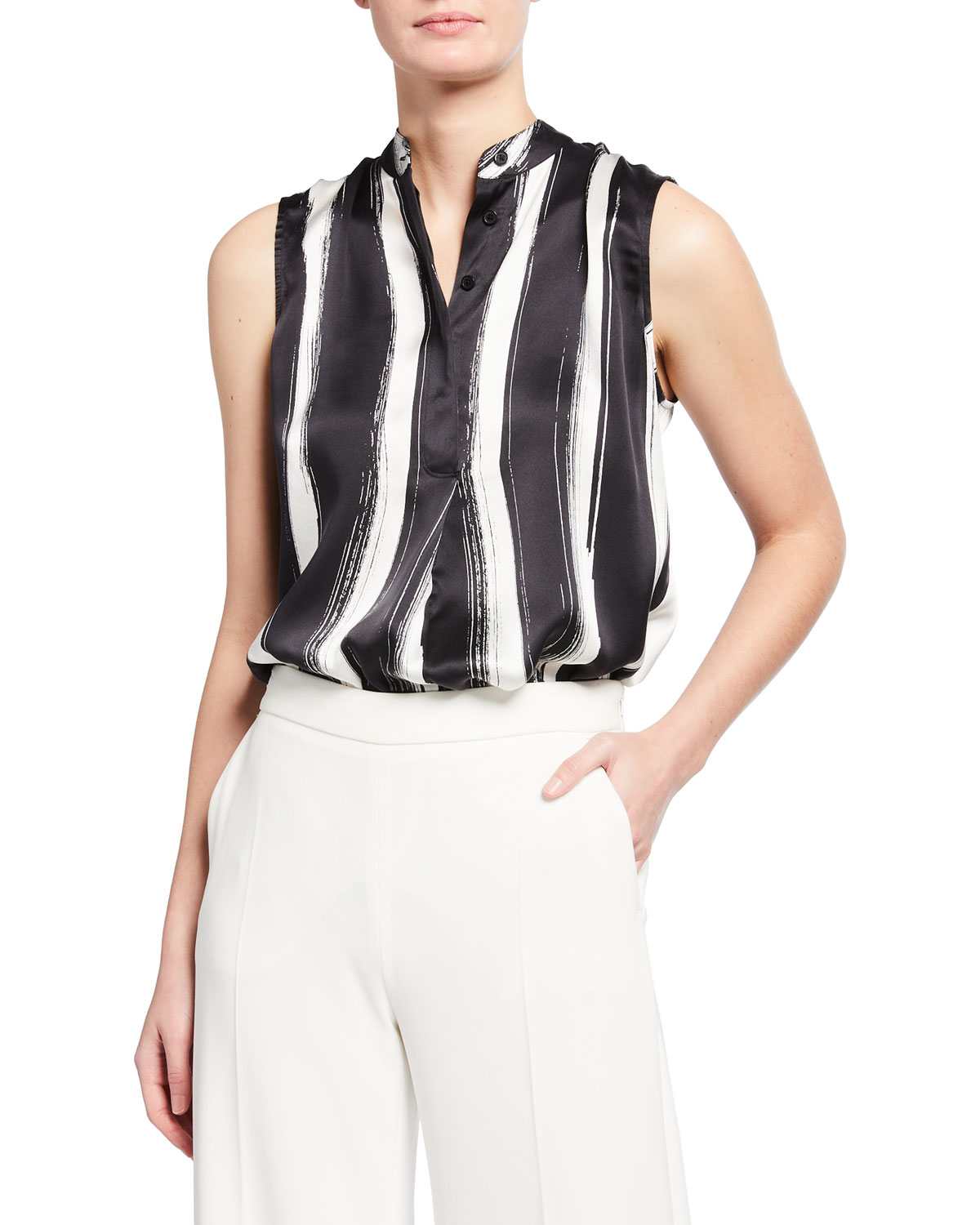 Equipment Clothing THERESE STRIPED SILK TOP