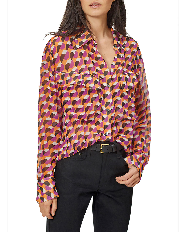 Equipment Nanine Abstract Silk Shirt In Tangerne M