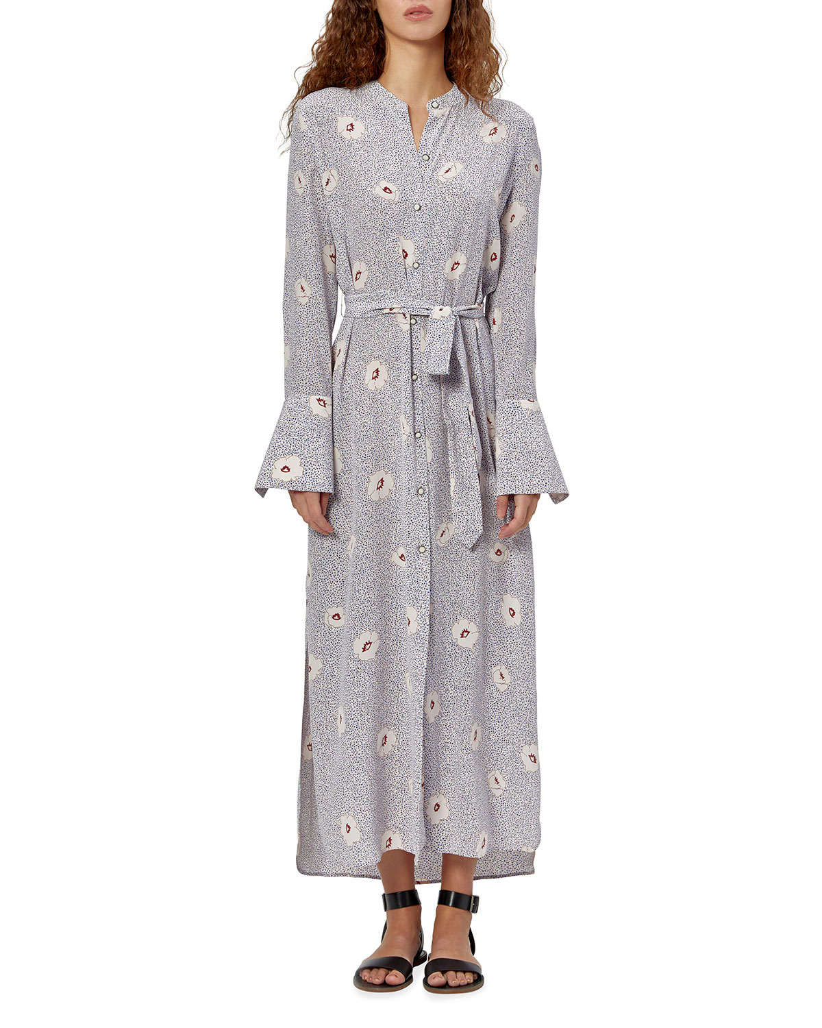 Equipment Connell Floral Maxi Shirtdress In Shll Mlt