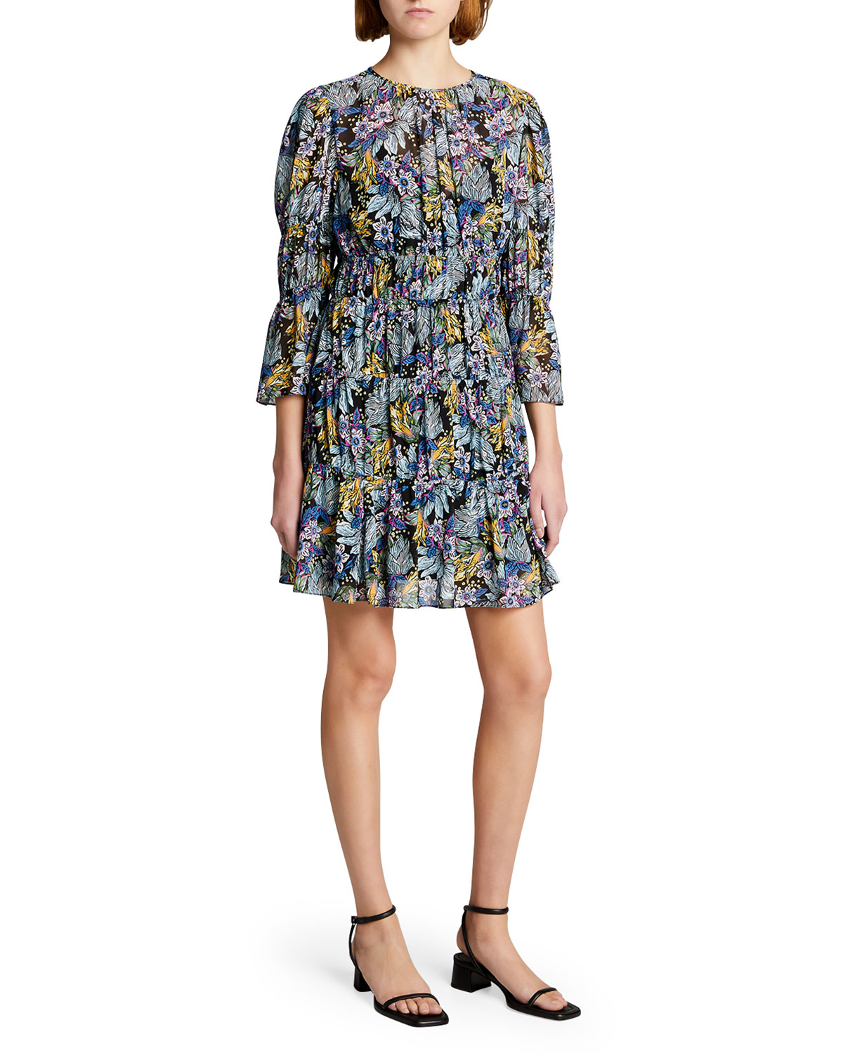 June Paradise Floral-Print Tiered Dress